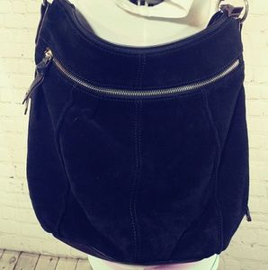 CLARKS BLACK SUEDE HOBO BAG